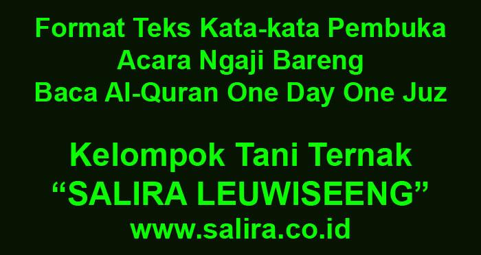 Format Teks Kata-kata Pembuka Acara Ngaji Bareng - Baca Al-Quran One Day One Juz
